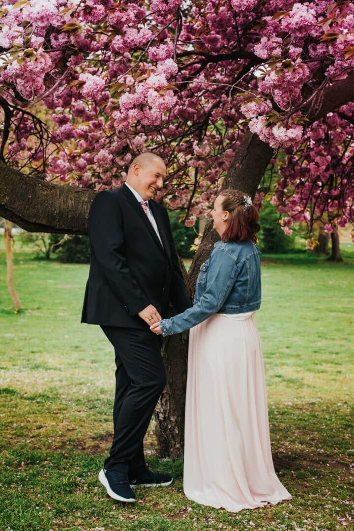 Brautpaar steht unter einem blühenden Kirschbaum im Herrngarten Darmstadt