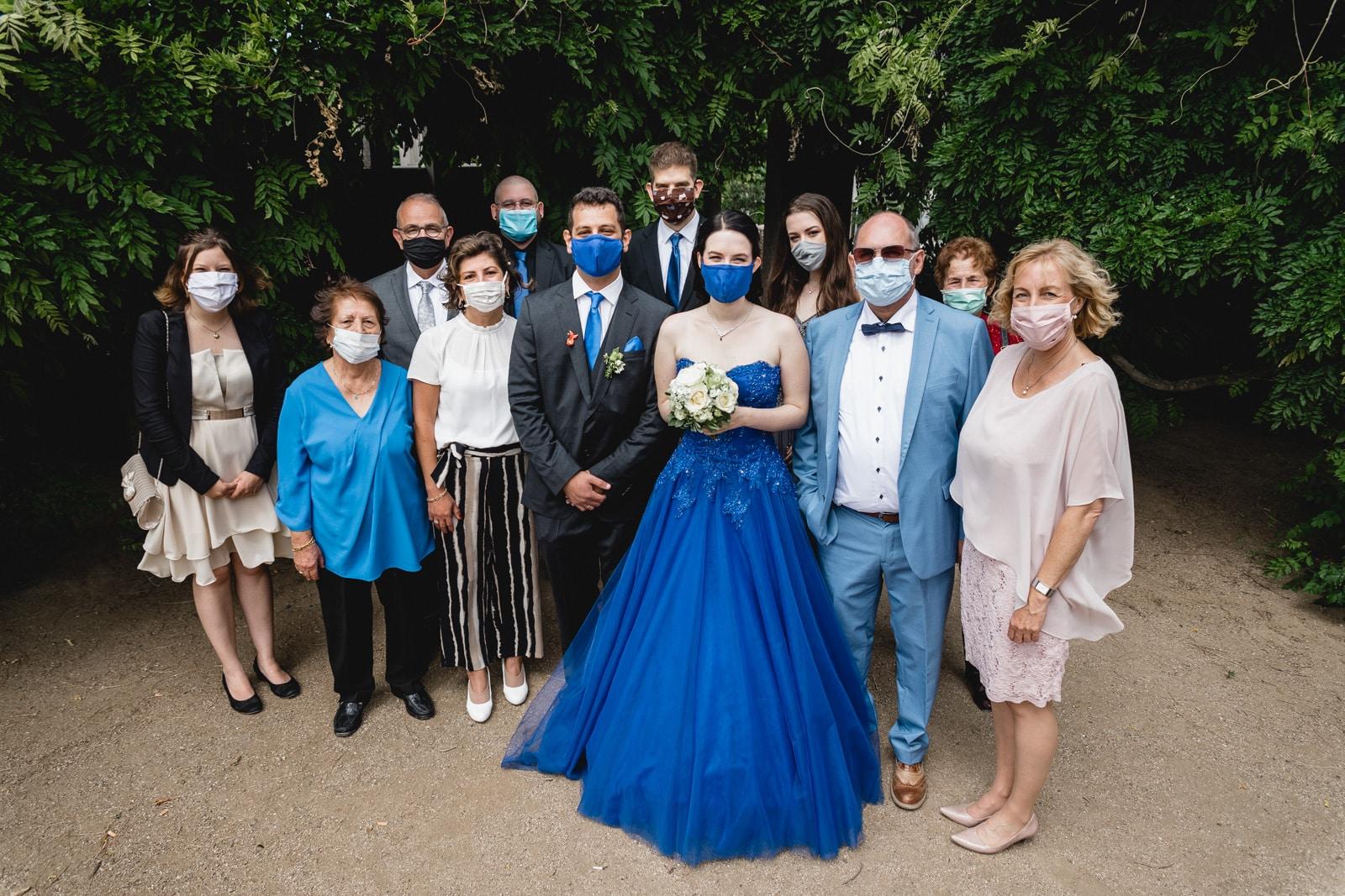 Gruppenbild während der Corona Zeit auf der Mathildenhöhe Darmstadt mit Masken