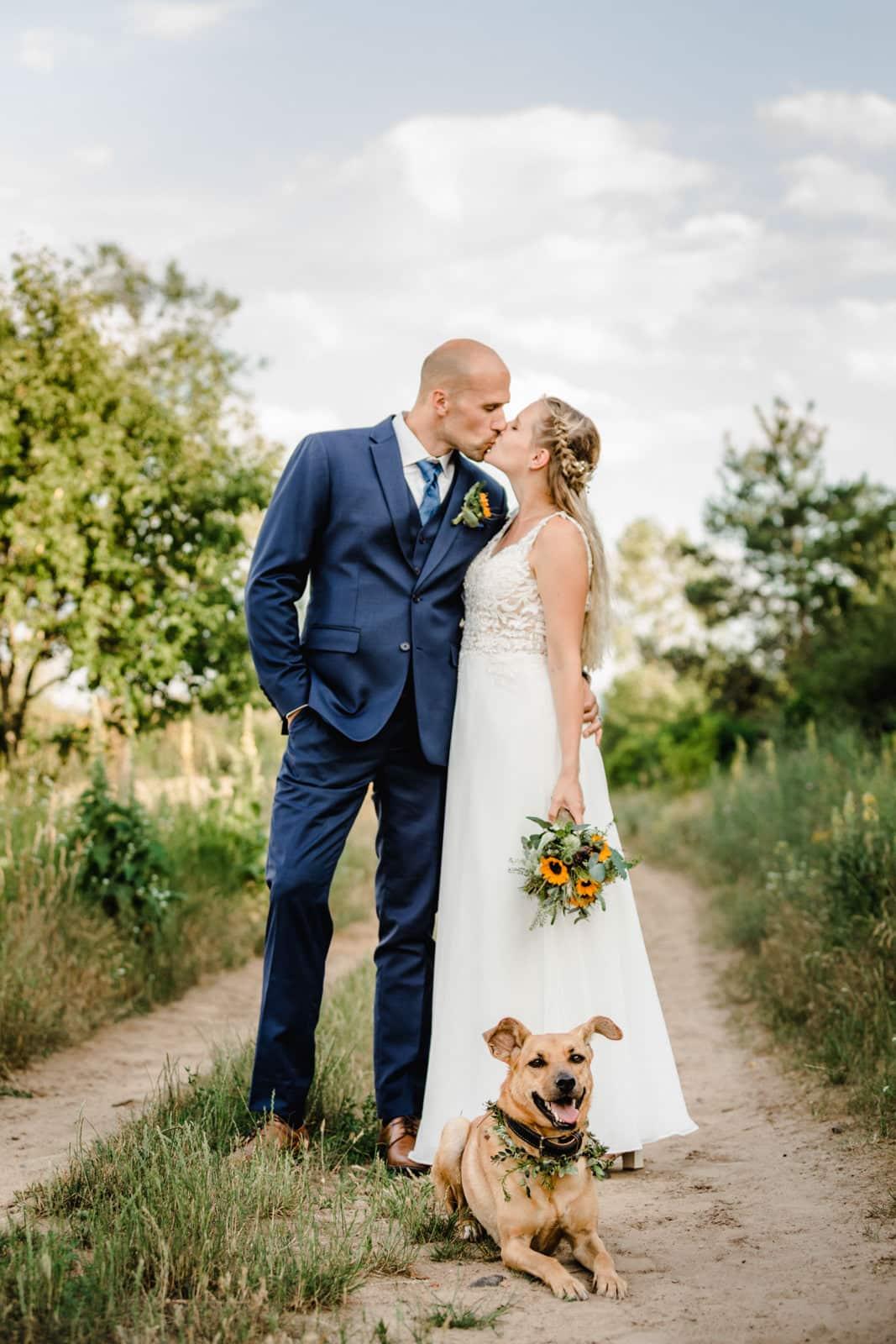 Brautpaar küsst sich in der Natur und ihr Hund liegt vor ihnen im Sand.